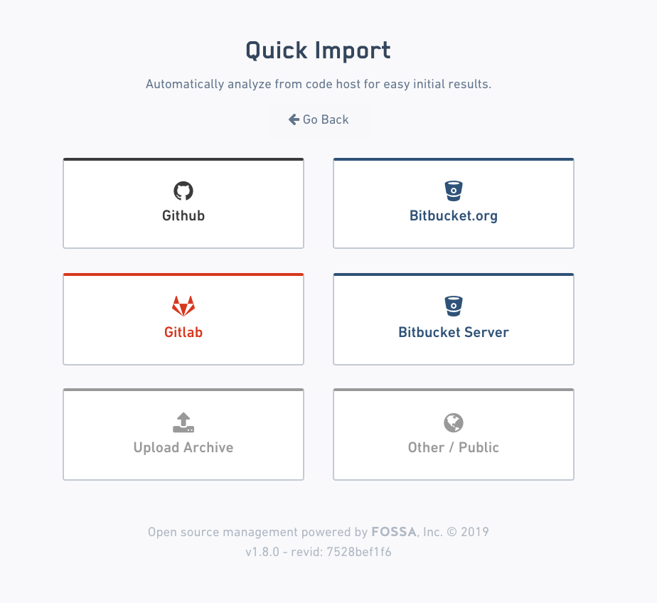 FOSSA September 2019 Release Notes - Quick Import