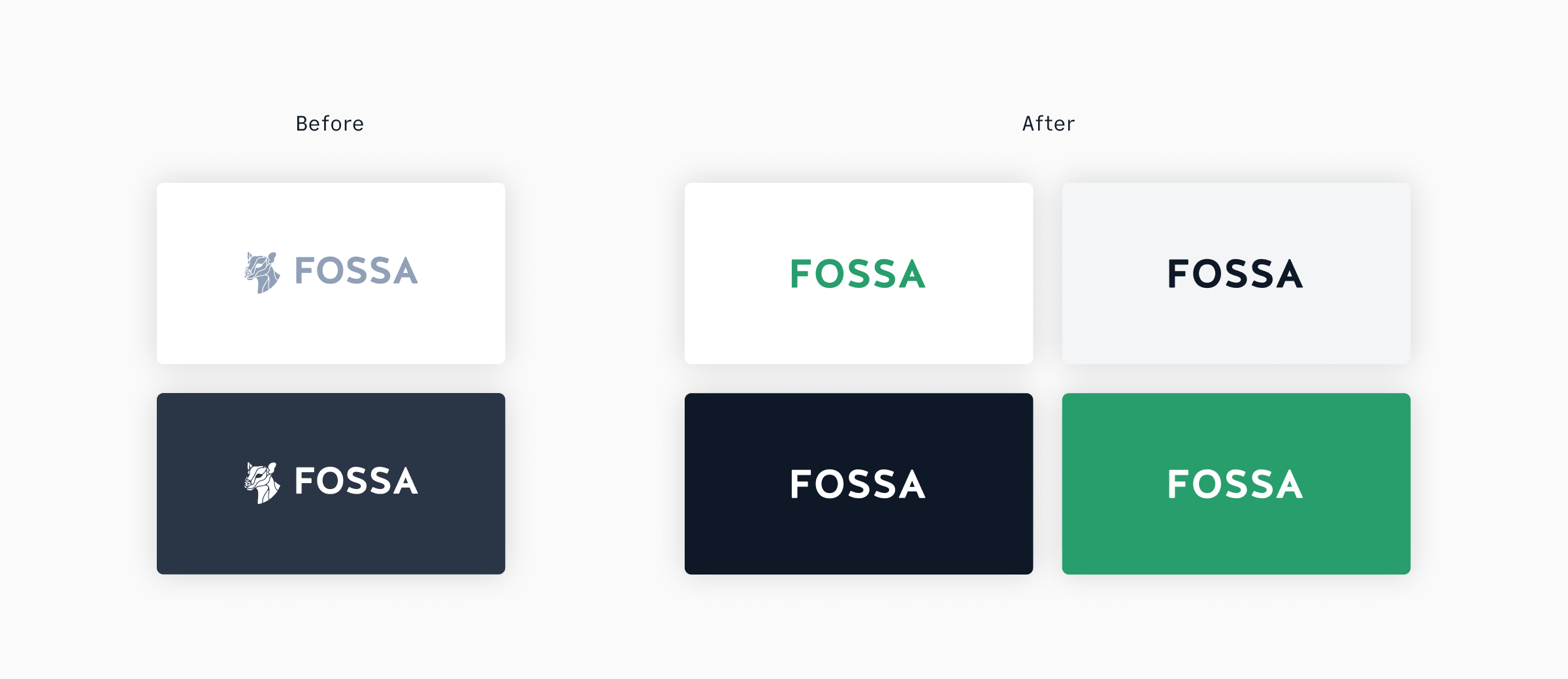 FOSSA logos: before and after