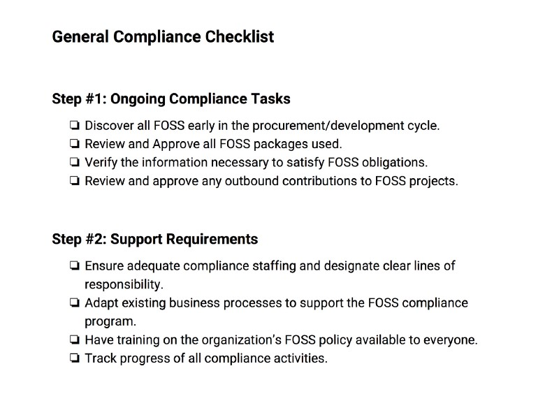 General Compliance Checklist